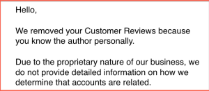 In spite of her assertions to the contrary, Amazon insists that Imy is a personal friend of an author whose book she tried to review, but the site won't disclose how it came to this conclusion.