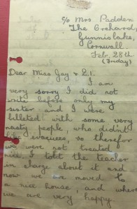 letter from Jean Sheppard to her teacher courtesy of Flambards Exhibition